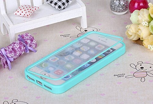 Nancy'S Shop Apple Iphone 5 5S Case Cover Flip Up-Down Open Tpu Gel Shockproof Hybrid Case For Apple Iphone 5 And 5S. Back And Front Protection (Blue For Apple Iphone 5 5S Case)