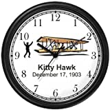 Wright Brothers at Kitty Hawk Wall Clock by WatchBuddy Timepieces (Black Frame)