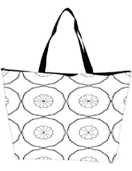 Snoogg Grey Color White Pattern Designer Waterproof Bag Made Of High Strength Nylon