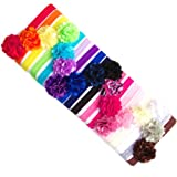 Ema Jane – Mini Satin Mesh Hair Flowers Glued to Iridescent Skinny Headbands (18 Pack)