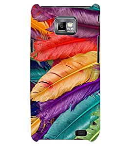 ColourCraft Colourful Feathers Design Back Case Cover for SAMSUNG GALAXY S2 I9100