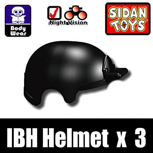 IBH Tactical Helmet 3 Pack in Black - Custom Minifigure Pieces