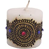 "Craftandcreations Wax Henna Art Work Candle (1.5""x1.5"", White)"