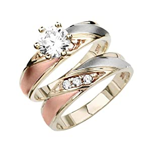 14k tri color gold engagement ring and wedding