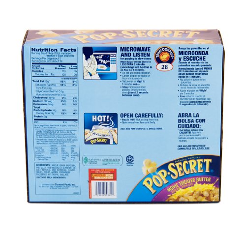 Pop Secret butter popcorn - 30 calories, 10g of fat, and 16g of carbs per cups. Visit our site for complete nutrition facts for this item and ,+ additional foods.