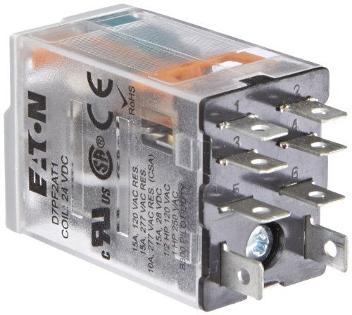 Eaton D7PF2AT1 General Purpose Relay, 15 a Rated Current, DPDT Contact Configuration, 24VDC Coil Voltage, 650 ohm Coil Resistance - Eaton Corp.