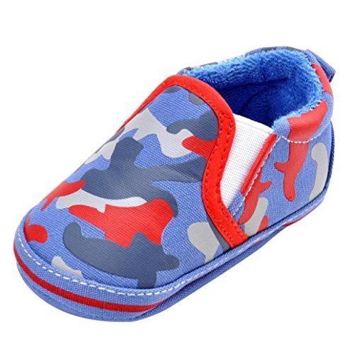 Kingko® Bambino scarpine neonato Bambini Camouflage Prewalker del bambino antisdrucciolevole molle Sole Scarpe invernali (12~18 mesi, blu)