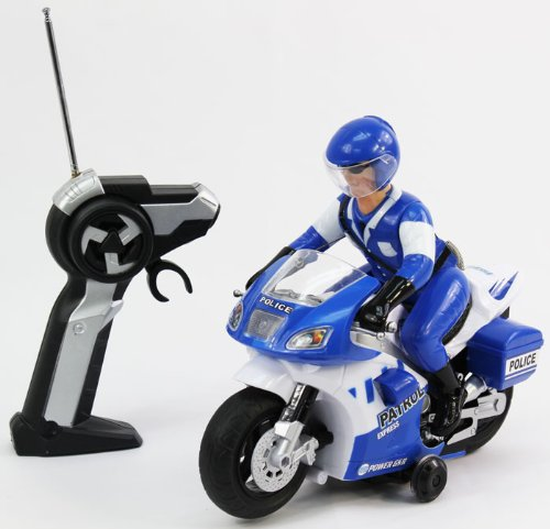 Radio Control Police Motorcycle 360 degree Rotations Remote Control Bike with Lights and Sounds