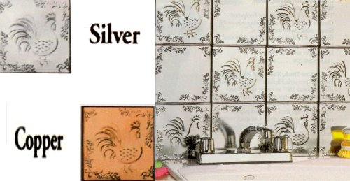 SELF ADHESIVE DECORATIVE SILVER EMBOSSED ROOSTER AND FLORAL TIN TILES - 6