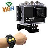 Kool(TM) SJ4000W WIFI Sports Camcorder, Underwater Waterproof Camera, [Comparable to GoPro Hero] Bicycle Helmet Car DVR Recorder 12MP HD 1080P Wide-Angle Lens + 2.4G Wireless Waterproof Watch Remote Control + Variety of Stands/Mounts/Casing for Skiing, S