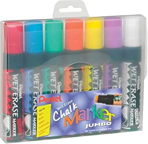 Pentel Wet Erase Chalk Marker Jumbo Tip - Assorted Colours (Pack of 7)