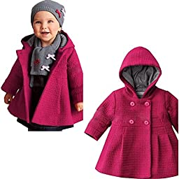 SPUNKYKIDS Baby Girl\'s Hooded Wool Cotton Trench Coat 12MO Rose