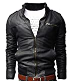 New Men's Coat Jacket Style Slim Zipper Designed PU Leather Outwear by NYC Leather Factory Outlet