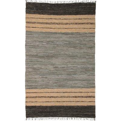 Matador Leather Chindi Rug, 5 by 8-Feet, Gray