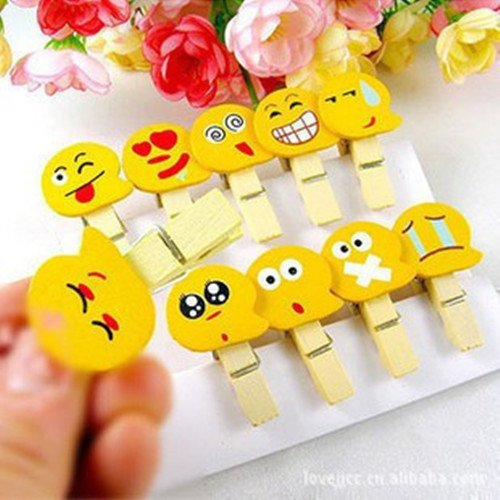 10pcs Wooden Emotion Photo Note Memo Clip Paper Pegs With Free 1.5m String By Yps