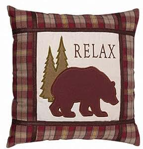 Amazon.com - Grasslands Road Cabin Fever Burgandy Plaid Bear Pillow