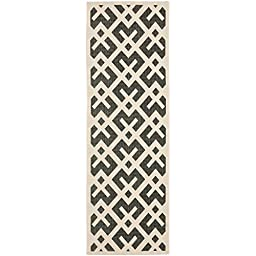 Safavieh Courtyard Collection CY6915-216 Black and Beige Indoor/ Outdoor Runner, 2 feet 3 inches by 8 feet (2\'3\