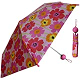 Pink Girls Folding Umbrella with Floral Print by Totes