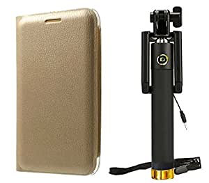 Novo Style Samsung Galaxy E5 Folio PU Leather Case Slim Cover with Stand + Wired Selfie Stick No Battery Charging Premium Sturdy Design Best Pocket Sized Selfie Stick