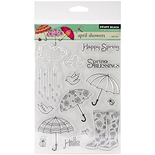 Penny Black Decorative Rubber Stamps, April Showers