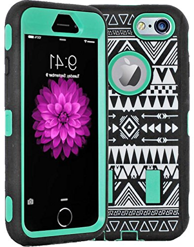 "Mylife Hybrid Shock Absorbing {Built In Screen Protector} Case For Iphone 6 (6G) 6Th Generation Phone By Apple, 4.7"" Screen Version {Tea Green + Epic Black ""Tribal Design"" Hybrid Three Piece With Layered Flex Gel Secure-Fit Armor}"