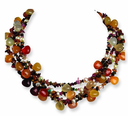 PriceRock Sterling Silver 4 Strand Cult Pearl/Tourmaline/Tigers Eye/Agate Necklace