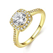 buy [Eternity Love] Women'S Pretty 18K Gold Plated Princess Cut Cz Crystal Engagement Rings Best Promise Rings For Her Anniversary Cocktail Arrow Wedding Bands Tivani Collection Jewelry Rings
