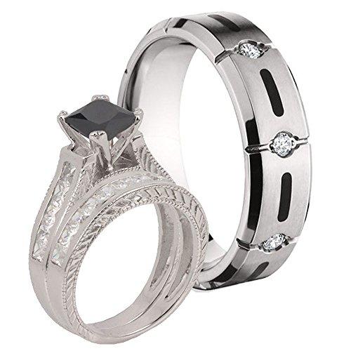 Princess Black Simulated Diamond Sterling Silver 925 & Titanium Resin Inlay Ring Set Sz 9, 13