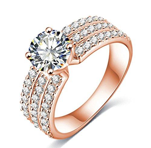 AMDXD-Schmuck-Damen-Ringe-Rose-Vergoldet-Ring-3-Reihe-Zirkonia-mit-sterreich-Kristall-Rose-Golden-Ringe
