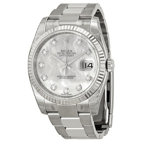 Rolex Datejust Mother of Pearl Dial Automatic Stainless Steel White Gold Bezel Ladies Watch 116234MDO