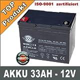 AKKU 33AH 12V AGM GEL Batterie 35Ah 12Volt Caddy USV Rollstuhl Golfcart Batterie