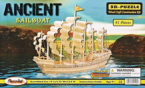 Puzzled, Inc. 3D Natural Wood Puzzle - Ancient Sailboat