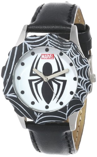 Marvel Comics Kids' W000314 Marvel Tween Spider-Man Stainless Steel Black Bezel Black Leather Strap Watch front-311759