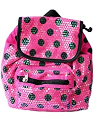 Pink And Black Polka Dot Print Toddler Little Girls' Sequined Drawstring Backpack