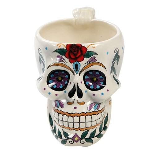 Day of The Dead Rose Sugar Skull Coffee Mug