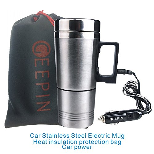 GEEPIN Car Stainless Steel Electric Mug, Applicable to the Boiling Water, Coffee, Milk, Boiled Eggs and Tea. (Electric Kettle For Car compare prices)