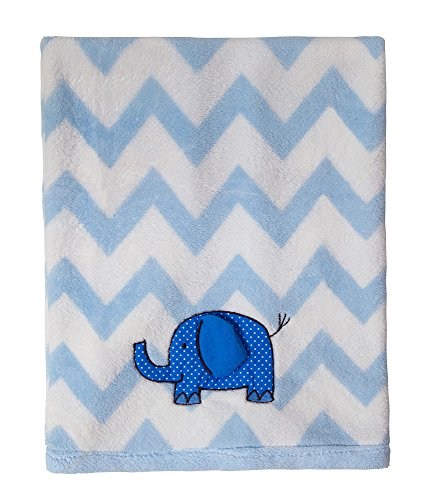 Little Beginnings Chevron Elephant Blanket, Blue