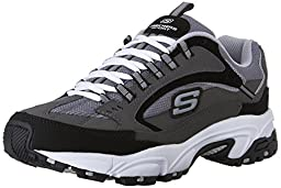 Skechers Sport Men\'s Stamina Nuovo Lace-Up Sneaker,Charcoal/Black,9 M US