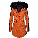 Marikoo Designer Damen Winter Parka warme Winterjacke Mantel Jacke B372 [B372-Larissa-Orange-Gr.M]