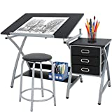 HomGarden Adjustable Drawing Desk Drafting Table Folding Art Craft Table Station w/Stool and 3 Storage Drawers (Color: Black)
