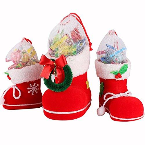 Natale Decorazioni Borsa Piccolo Regalo per Bambini Stivali Candy Calzini di Natale Regalo Vigilia di Natale Decorazioni per La Casa 3 Taglie (Media 13cm x 7cm x 10cm)