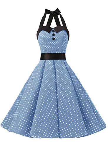Dressystar Vintage Polka Dot Retro Cocktail Prom Dresses 50's 60's Rockabilly Bandage Sky Blue L