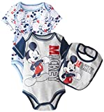 Disney Baby Baby-Boys Newborn Mickey Mouse 3 Piece Soft Bodysuit and Bib Set, Blue, 6 Months