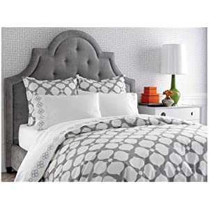 Jonathan Adler Hollywood Duvet Cover, Light Grey, Full/Queen