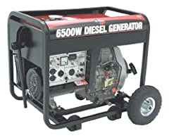 All Power America APG3201 6,500 Watt 10 HP Diesel Powered Generator With Electric Start & Wheel Kit