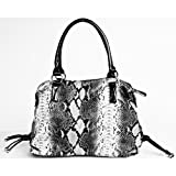 Large Black and Grey Snake Print Faux Leather Handbag By Fash