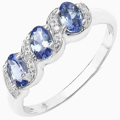 The Tanzanite Ring Collection: Ladies Sterling Silver Tanzanite & Diamond Engagement Ring with 0.77 Carats Genuine Tanzanite set with 4 Diamonds (Size Q). Comes in a Quality Ring Case for that Special Gift.