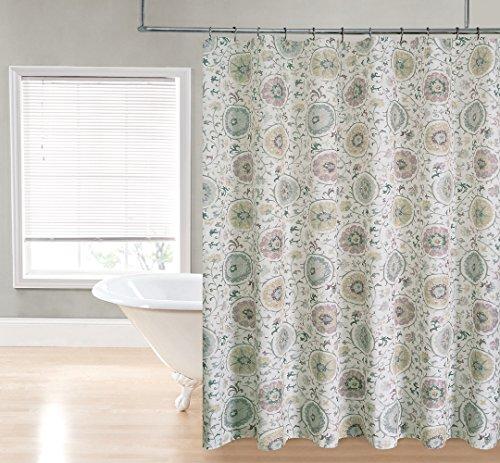 HLCME Suzzani Fabric Shower Curtain Neutral Home Garden