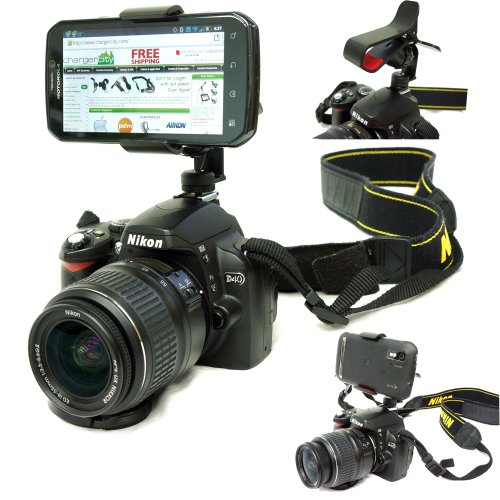 ChargerCity Exclusive DSLR Smartphone Hot Shoe Flash Camera Mount for Samsung Galaxy Note 2 S3 S4 Apple iphone 5S 5 4S HTC ONE SV DNA Sony Xperia Z ZL Motorola Droid RAZR MAXX HD Google Nexus 4 5 LG Optimus LTE Nokia Lumia 920 900 822 820 6 Multi Angel Adjustment Video recording 1/4