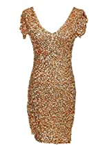 Anna-Kaci S/M Fit Metallic Gold All Over Sequins Shimmer Shine NYE Party Dress